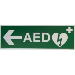 AED sticker met pijl links 30x10